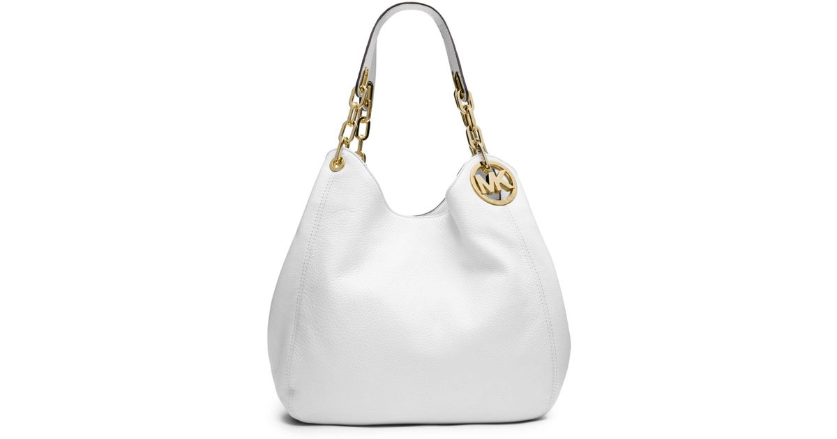 Michael Kors White Fulton Large Leather Shoulder Bag