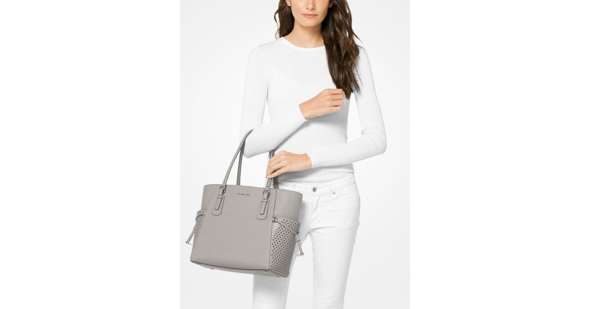 ff4b6764df1044 ... coupon lyst michael kors voyager small saffiano leather tote in gray  02da3 4ff3b