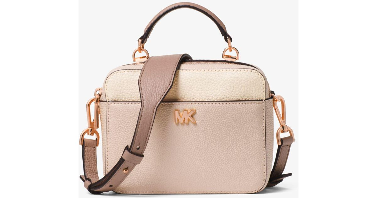 c892379177f9a9 Michael Kors Mott Mini Color-block Pebbled Leather Crossbody - Lyst