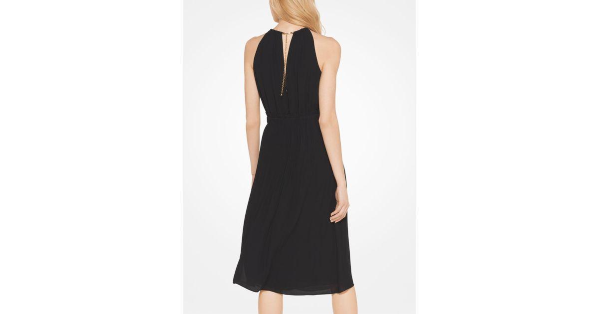 4743c840b0 Lyst - Michael Kors Georgette Pleated Halter Dress in Black