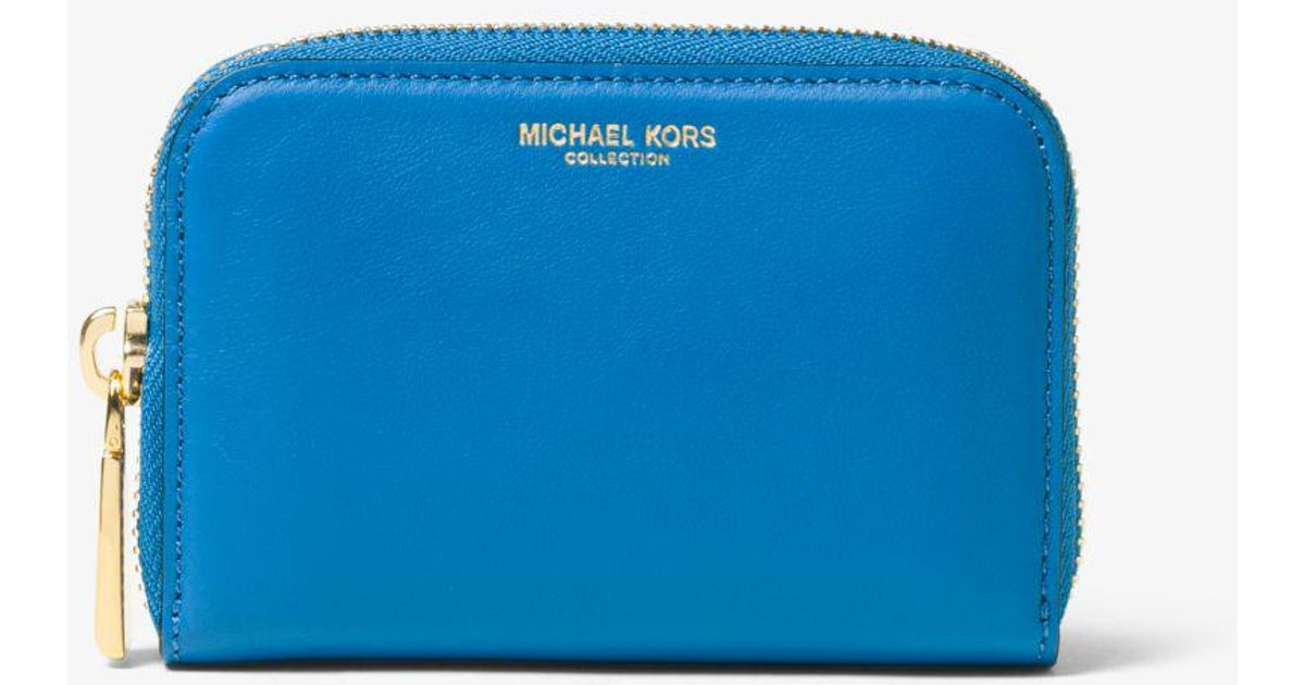 068305448dcd Michael Kors Miranda French Calf Leather Card Holder in Blue - Lyst
