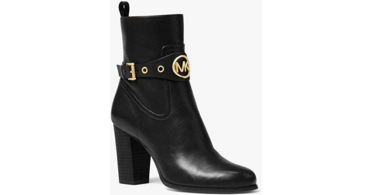 4ba9d25d837b Michael Kors Heather Leather Ankle Boot in Black - Lyst