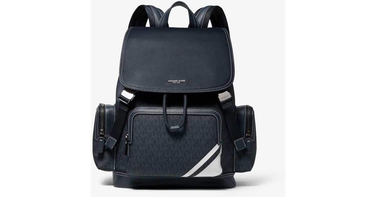 baace4b5d692 Michael Kors Henry Leather And Logo Backpack in Black for Men - Lyst