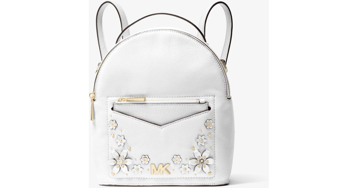 101a3a16d733a3 Michael Kors Jessa Small Floral Embellished Pebbled Leather Convertible  Backpack in White - Lyst