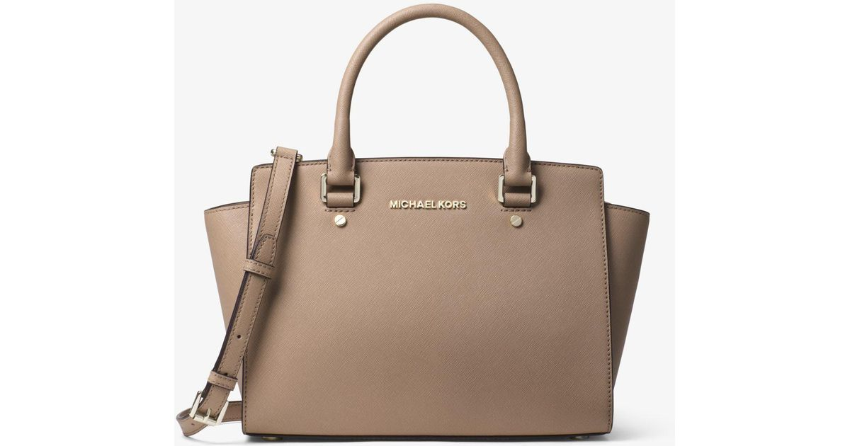 72df1530632f ... shop lyst michael kors selma medium saffiano leather satchel 24a7c 0fa6a