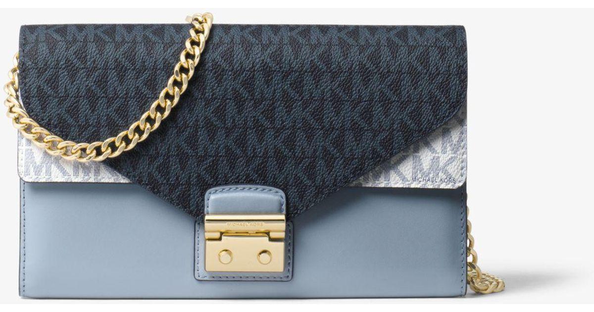 b2f68e8cb1e Lyst - Michael Kors Sloan Logo And Leather Chain Wallet