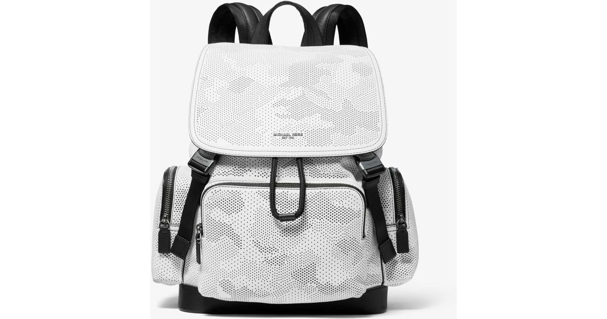 38454c07241b20 Michael Kors Henry Camo Perforated Leather Backpack in White for Men - Lyst