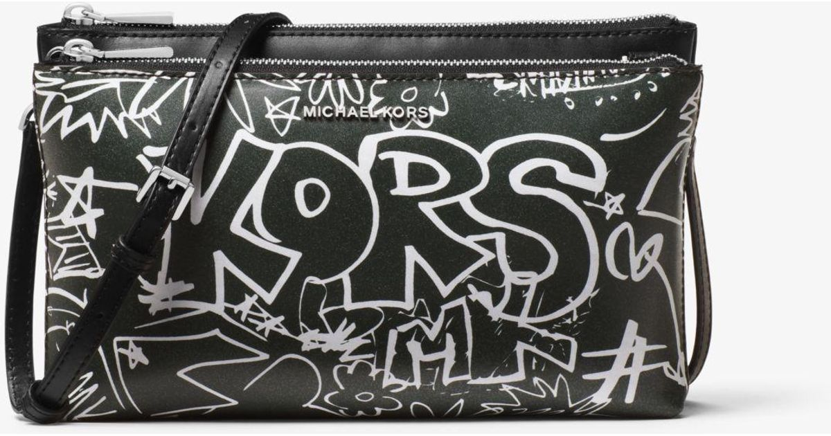 a438fac1bdd9 Lyst - Michael Kors Adele Graffiti Leather Crossbody in Black