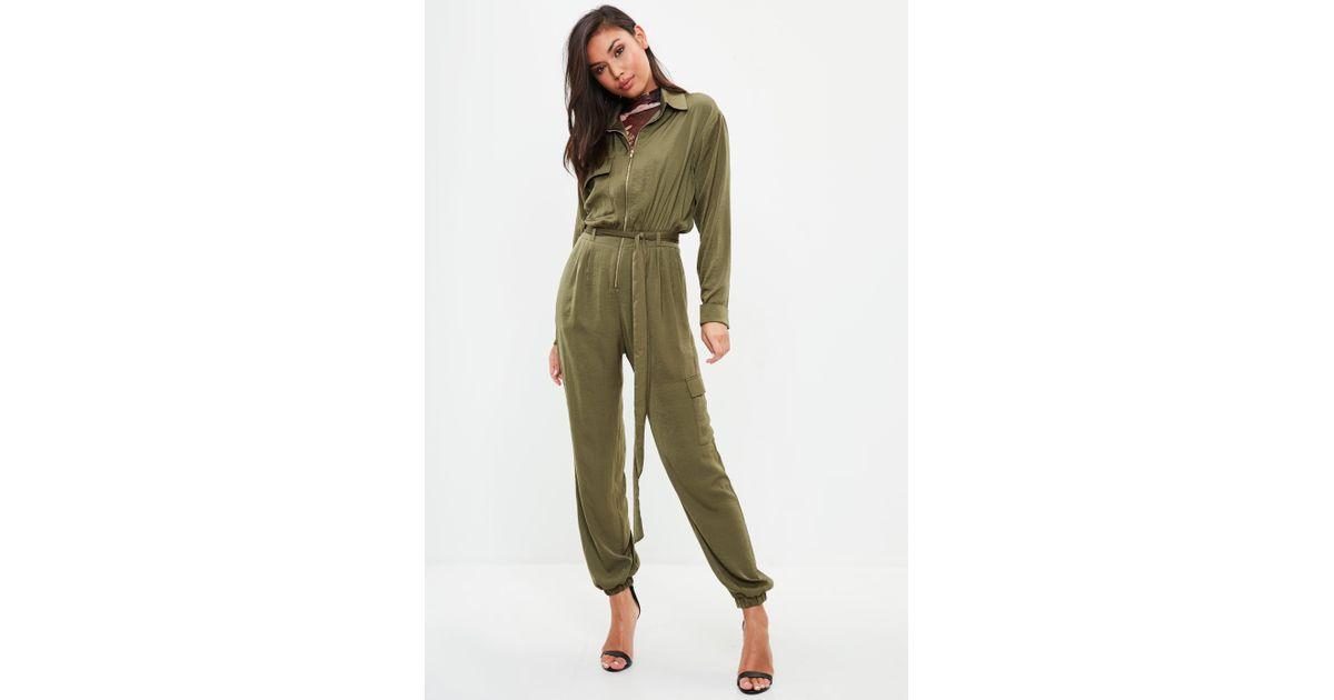 aa22f50f65 Missguided Khaki Satin Utility Jumpsuit in Green - Lyst