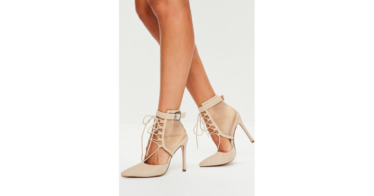 b43c3b77aa89 Missguided Nude Lace Up Mesh Pointed Heels in Natural - Lyst