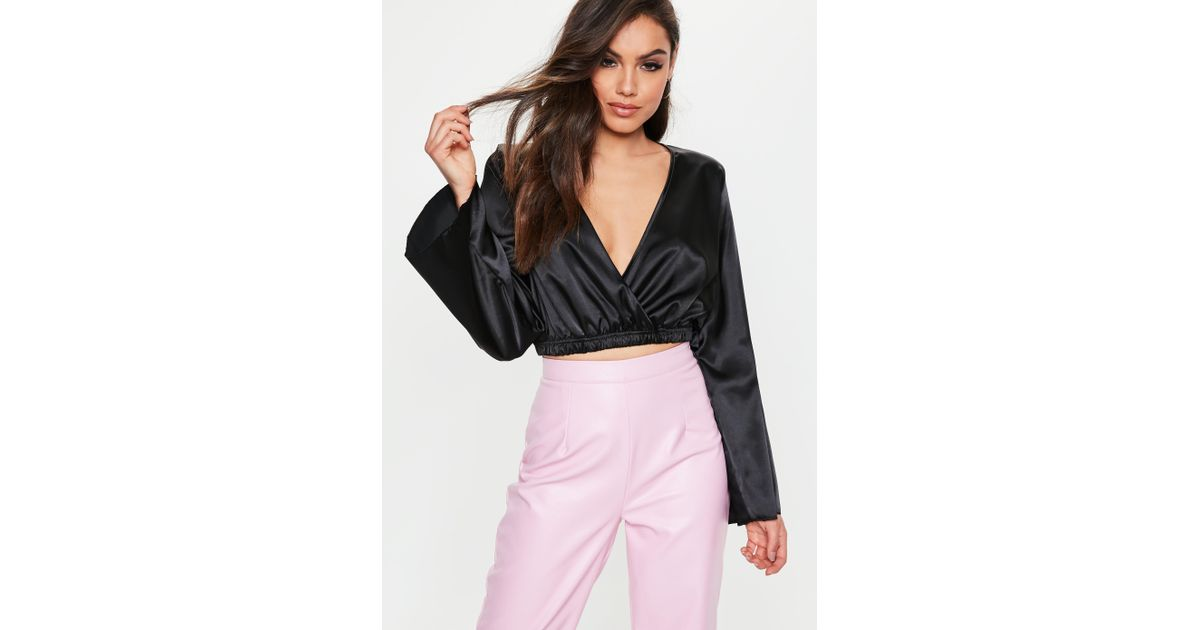 2aa2c734e78 Missguided Black Long Sleeve Wrap Front Satin Top in Black - Lyst