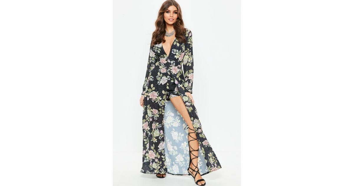 fde9ac0cc9 Lyst - Missguided Black Floral Long Sleeve Maxi Playsuit in Black