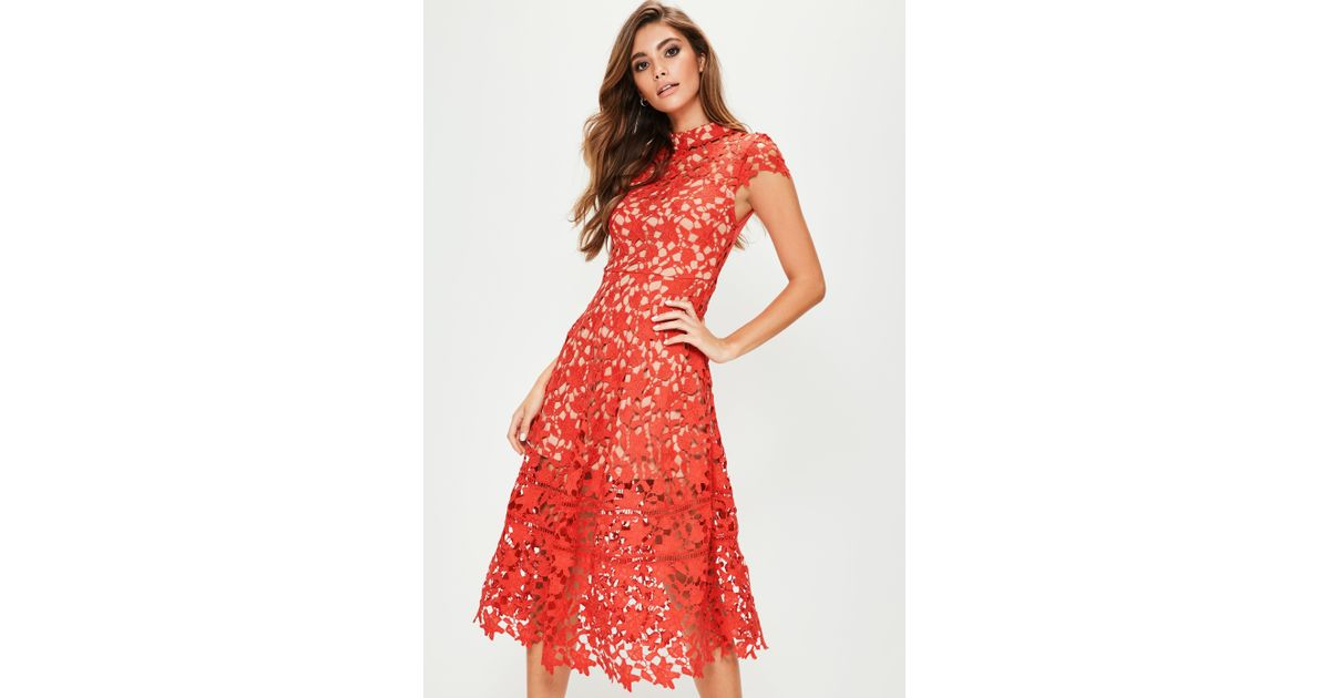 Missguided Red Short Sleeve Lace Midi Skater Dress in Red - Lyst a812f5176