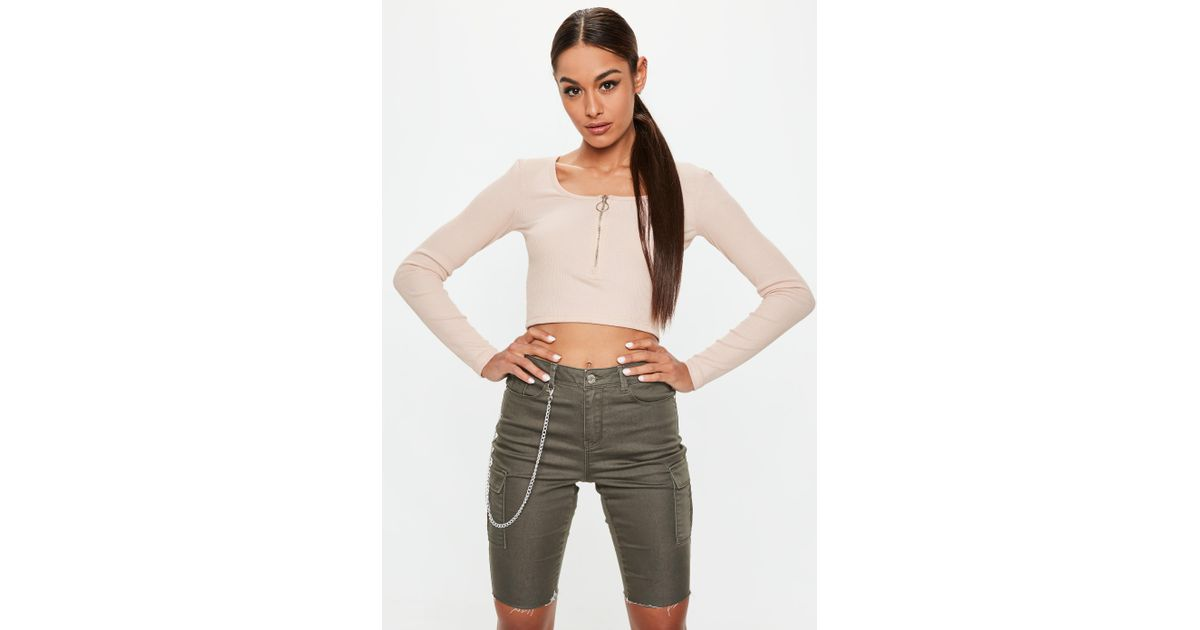 32a09f3f51c Lyst - Missguided Nude Long Sleeve Zip Front Ribbed Crop Top in Natural