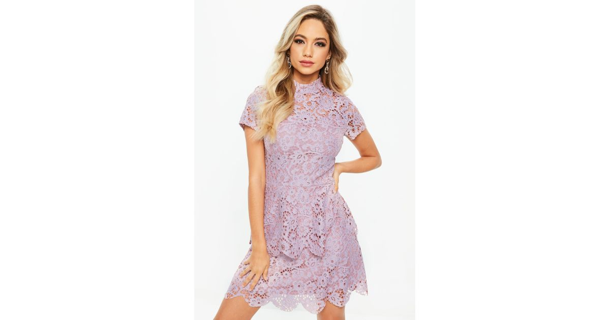 f85e5772 Missguided Petite Lilac Short Sleeve Lace High Neck Dress in Purple - Lyst