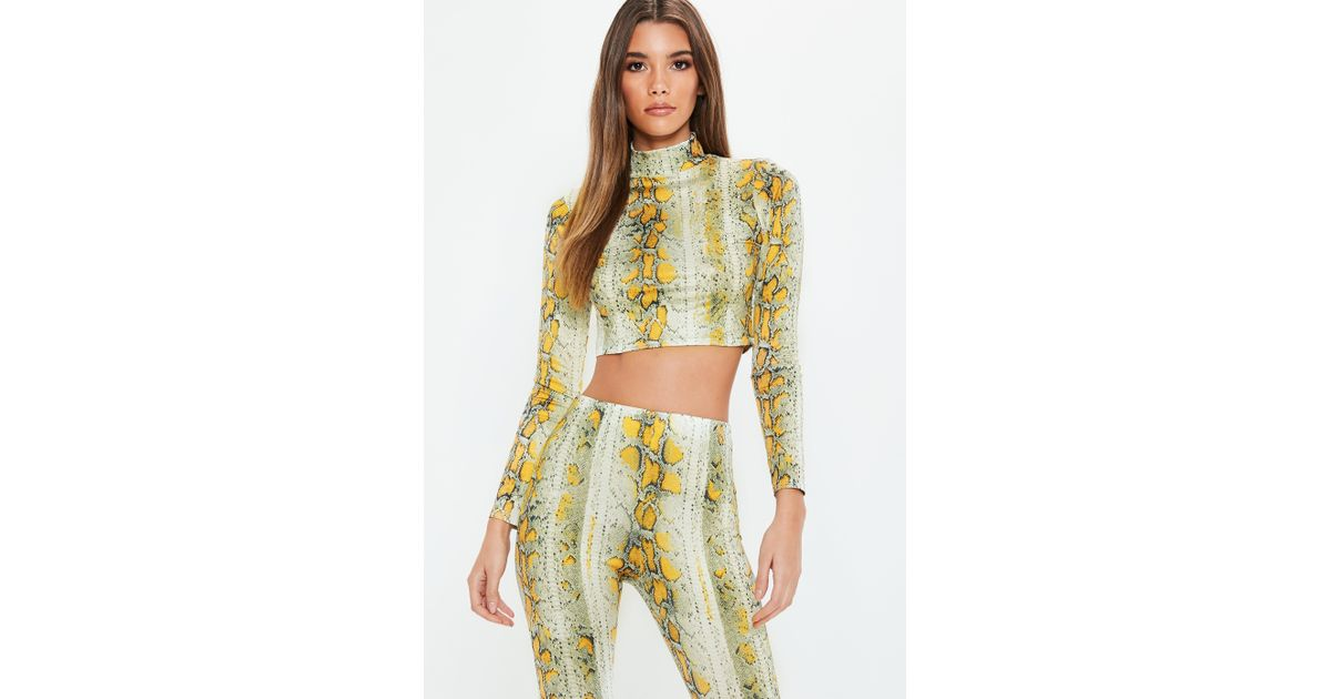 c1f0ee25420 Lyst - Missguided Cream Snake Printed High Neck Crop Top in Yellow