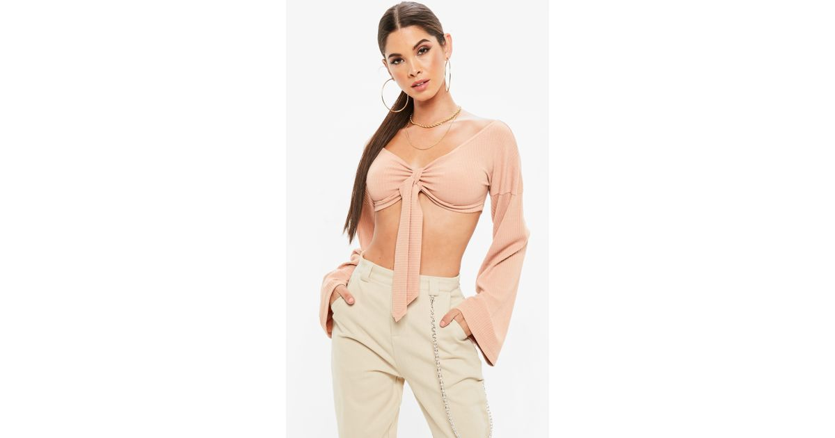 95a8522f9692ac Lyst - Missguided Nude Ribbed Tie Front Bardot Crop Top in Natural