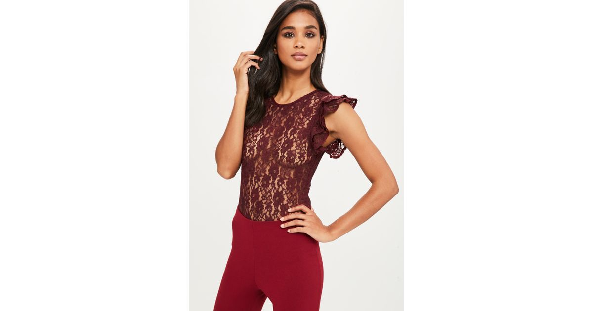 Missguided Burgundy Frill Sleeve Lace Bodysuit in Red - Lyst 6d59b8c7e