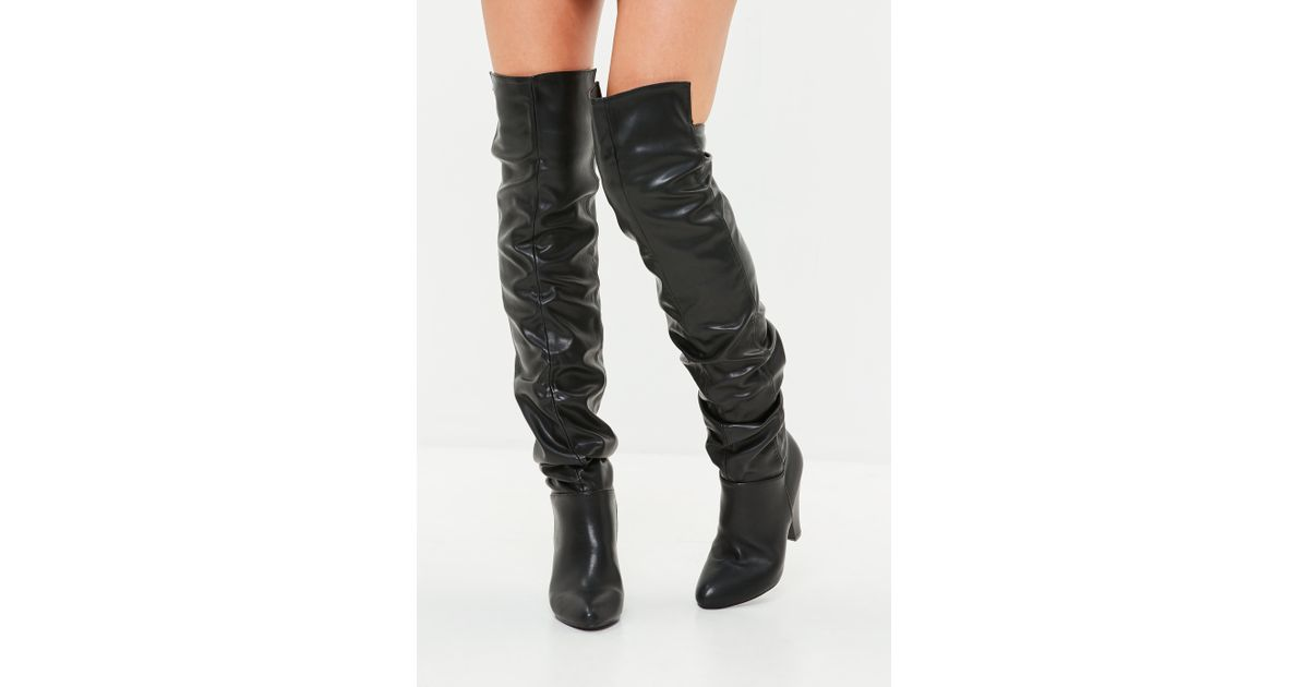 58773ee208c Lyst - Missguided Black Faux Leather Ruched Over The Knee Boots in Black