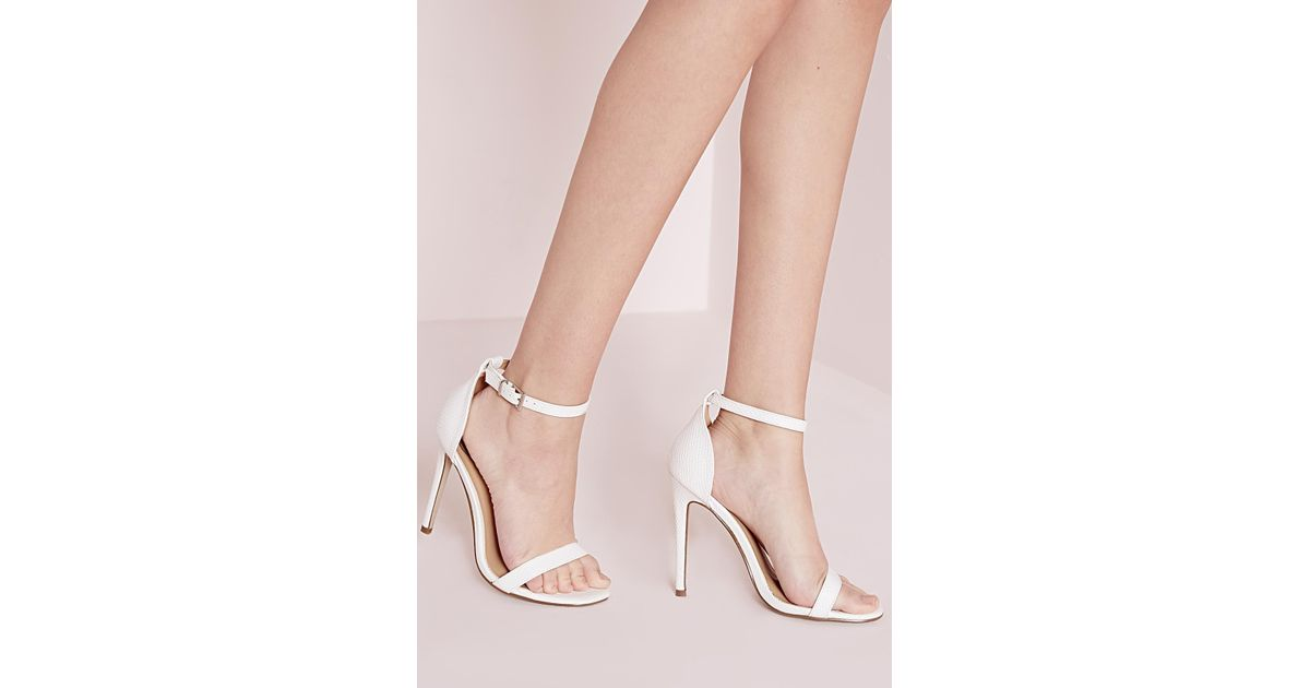 cc7edf16be3 Lyst - Missguided Barely There Strappy Heeled Sandals White Croc in White