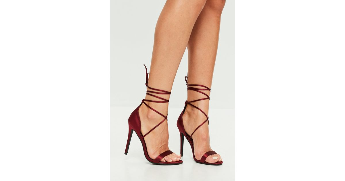 black lace up barely there heels