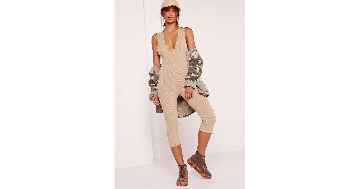 ad52d16c7cf3 Lyst - Missguided Ribbed Sleeveless 3 4 Leg Romper Camel in Natural