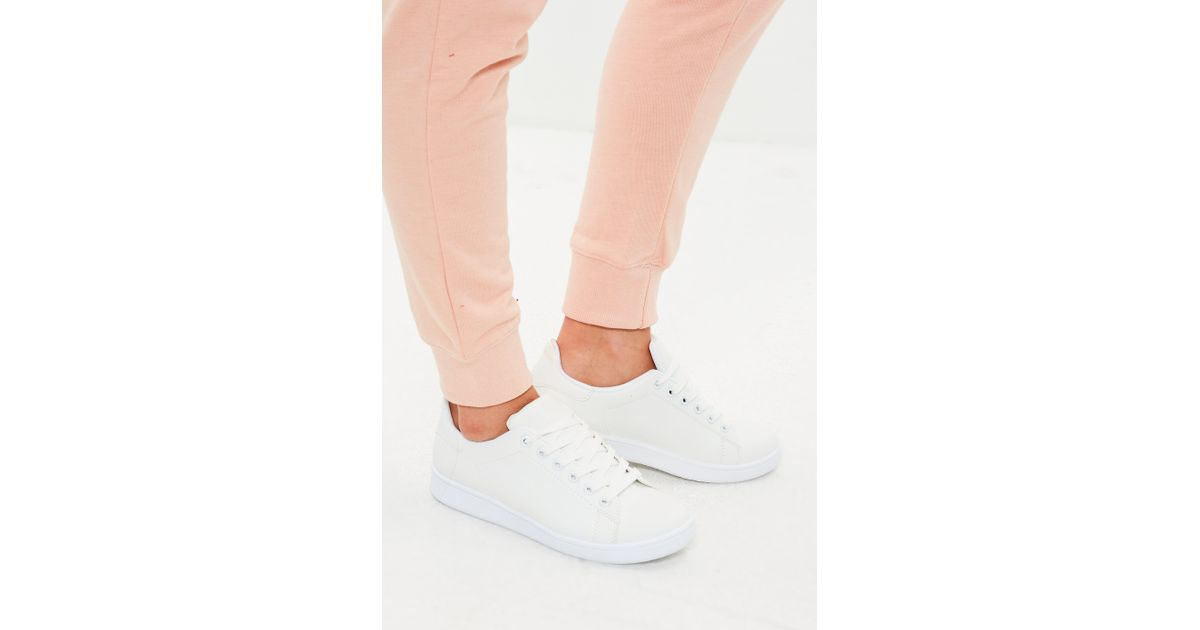 Missguided White Faux Leather Trainers