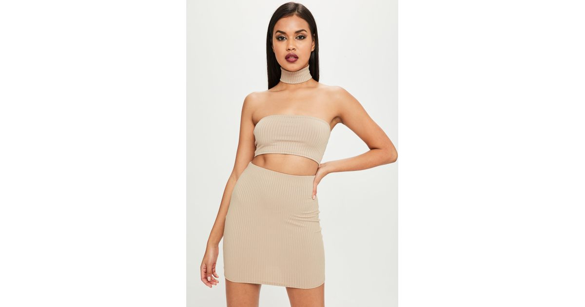 Missguided Synthetic Carli Bybel X Nude Ribbed Mini Skirt in Natural - Lyst