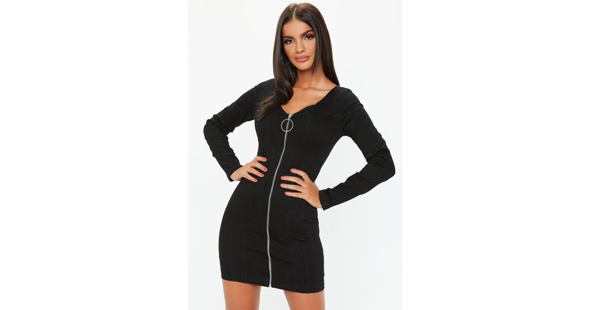39b40df07c1e Lyst - Missguided Black Denim Zip Through Long Sleeve Fitted Mini Dress in  Black