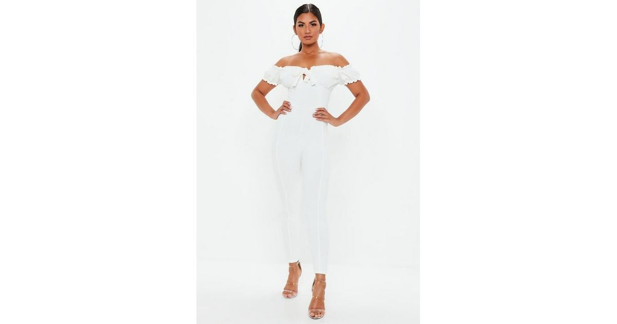 e0525ce150c Missguided White Tie Front Bardot Jumpsuit in White - Lyst