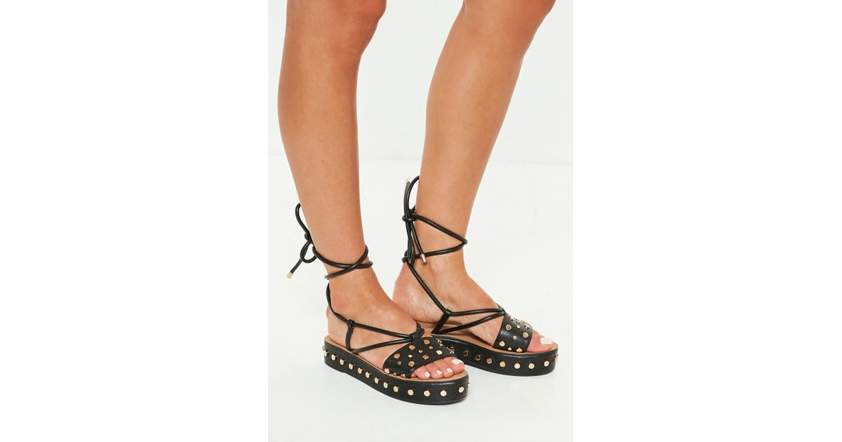 9f275d62352 Lyst - Missguided Black Flatform Studded Ankle Tie Sandals in Black