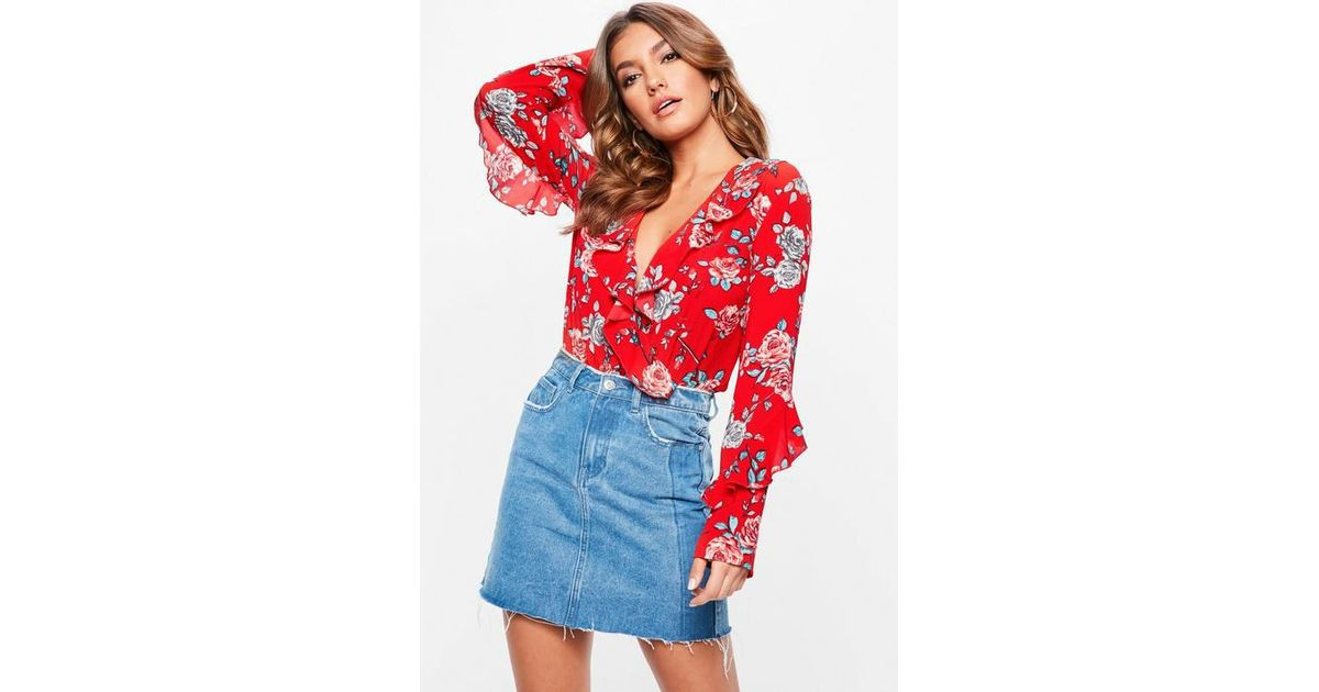 3e88674d8ec4 Missguided Red Floral Wrap Front Frill Bodysuit in Red - Lyst