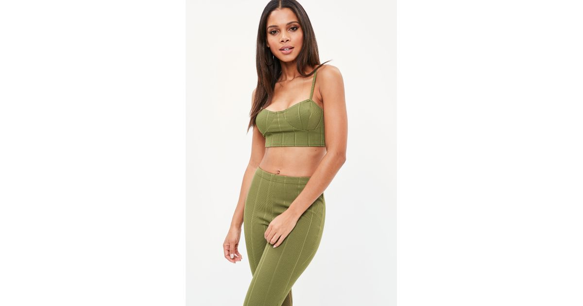 2c54eab659675f Lyst - Missguided Khaki Ribbed Cupped Bralet in Green