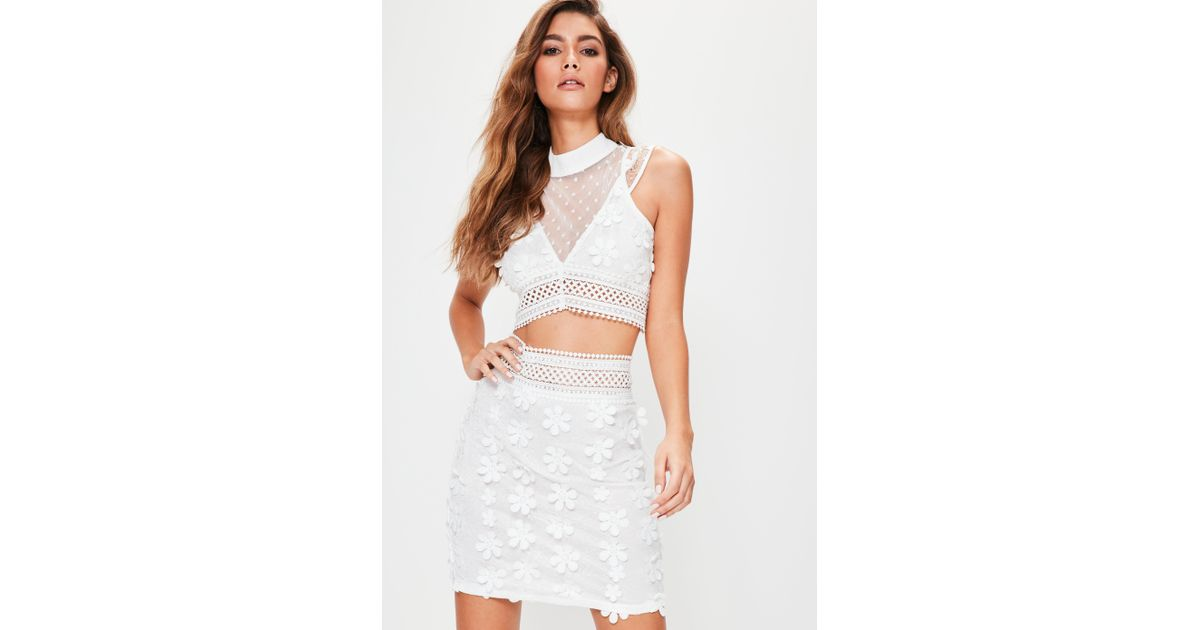 Missguided white floral applique lace mesh crop top in white lyst