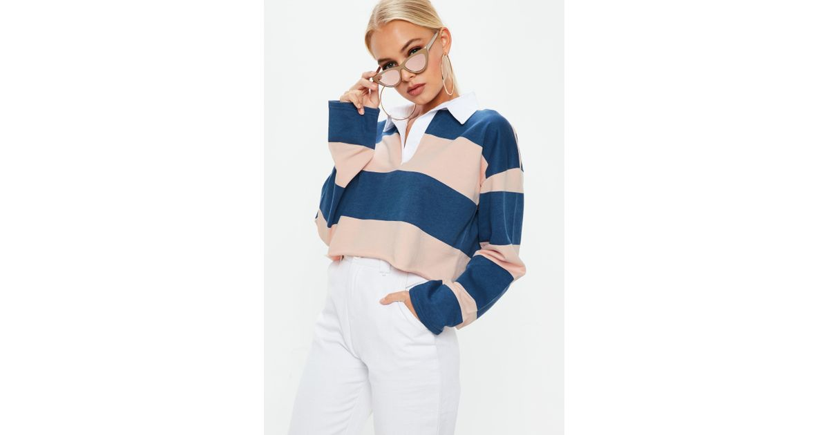 3c31ab1c284d1 Lyst - Missguided Cropped Rugby Top In Multi Stripe in Blue