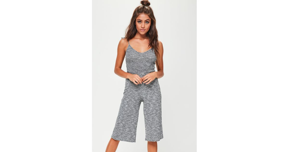 9c685b7e102f Lyst - Missguided Grey Tie Strap Ribbed Culotte Jumpsuit in Gray