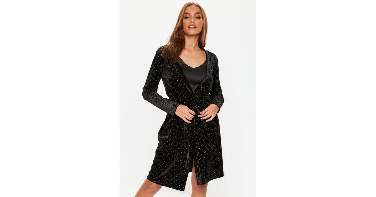 Lyst Missguided Black Velvet Studded Dressing Gown In Black