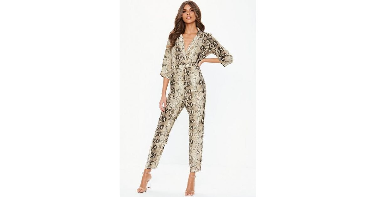 a6fe90c26bd2 Missguided Nude Snake Print Tux Blazer Jumpsuit in Natural - Lyst