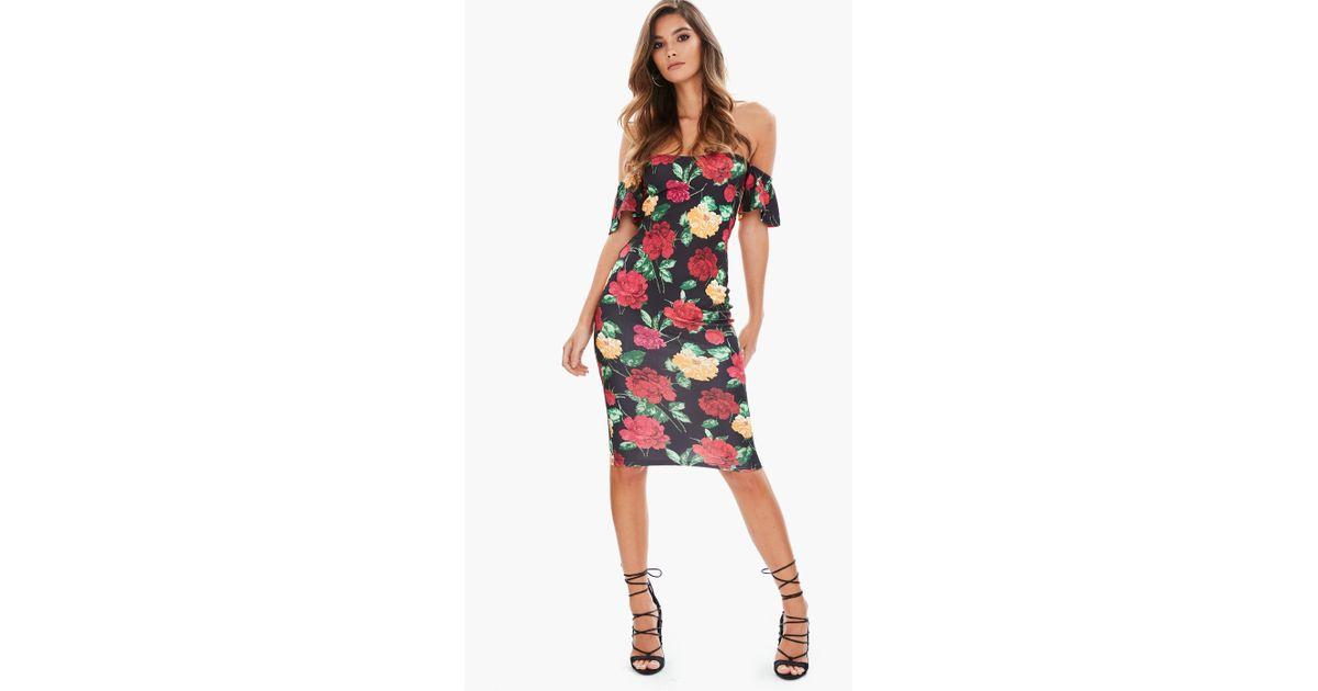 8986cf96173af Lyst - Missguided Black Bardot Floral Midi Dress in Black