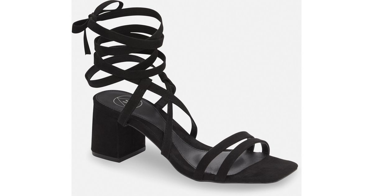46eb0d5a975 Missguided Black Two Strap Lace Up Mid Heel Sandals in Black - Lyst