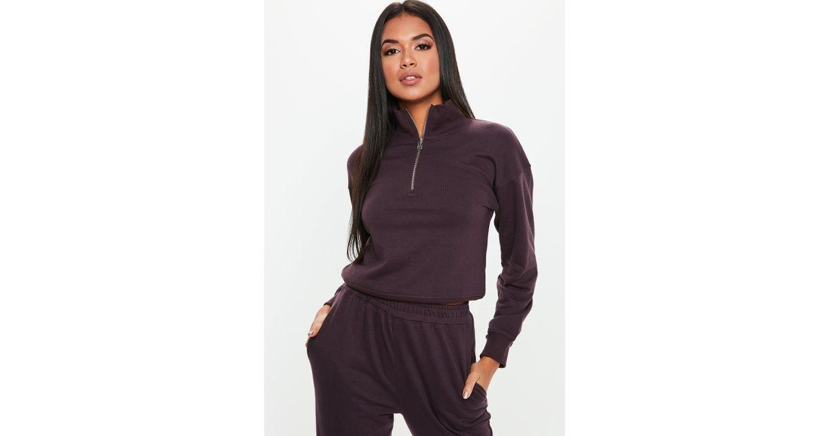 b5d3d5a5e57 Lyst - Missguided Tall Brown Zip Neck Sweatshirt in Brown