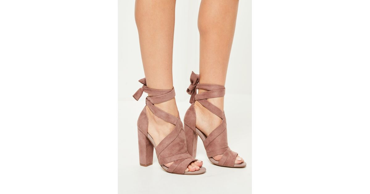 f160677a28f Lyst - Missguided Pink Tie Detail Block Heeled Sandals in Pink