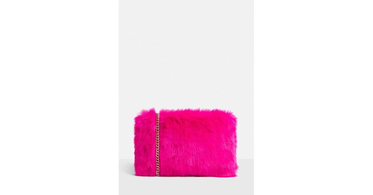 Missguided - Neon Pink Faux Fur Shoulder Bag - Lyst f996e572fe0e3