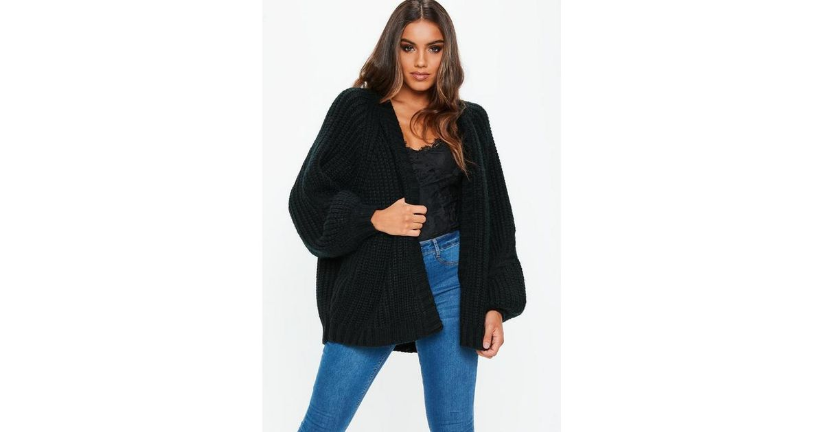 cd2c3afe929f7f Missguided Black Oversized Batwing Cable Knitted Cardigan in Black - Lyst