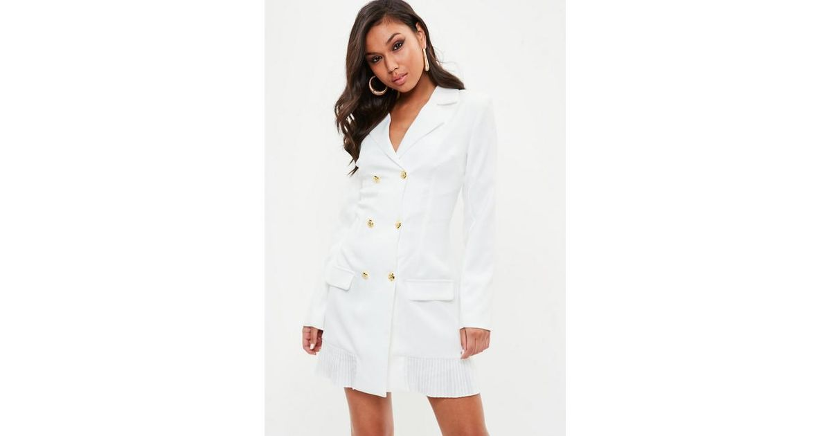49efd9f6d94 Missguided Tall White Tailored Gold Button Blazer Dress in White - Lyst