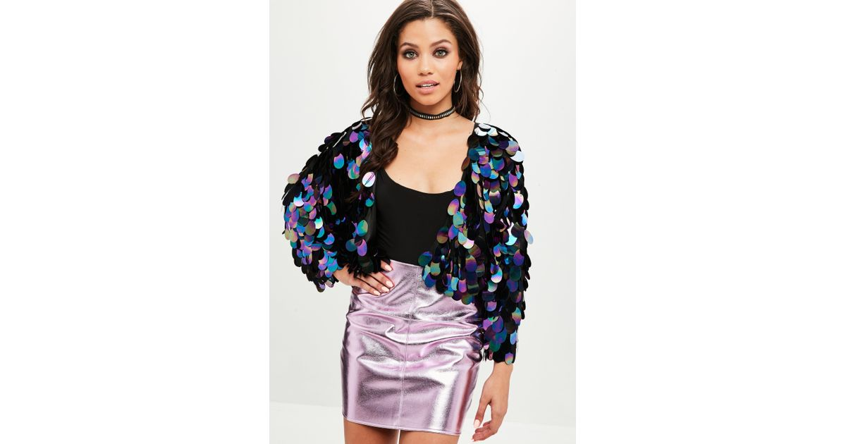 fe0a6b5e Missguided Black Iridescent Sequin Cropped Jacket in Black - Lyst