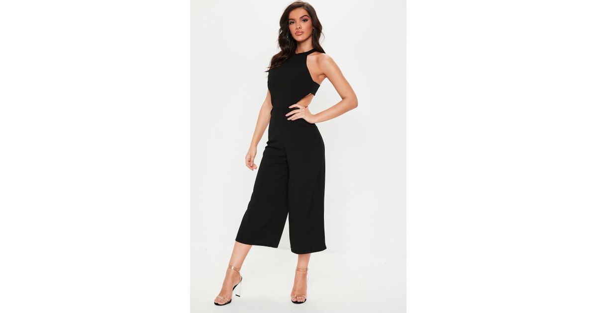 b7c446a4ab3 Lyst - Missguided Black High Neck Cut Out Culotte Jumpsuit in Black