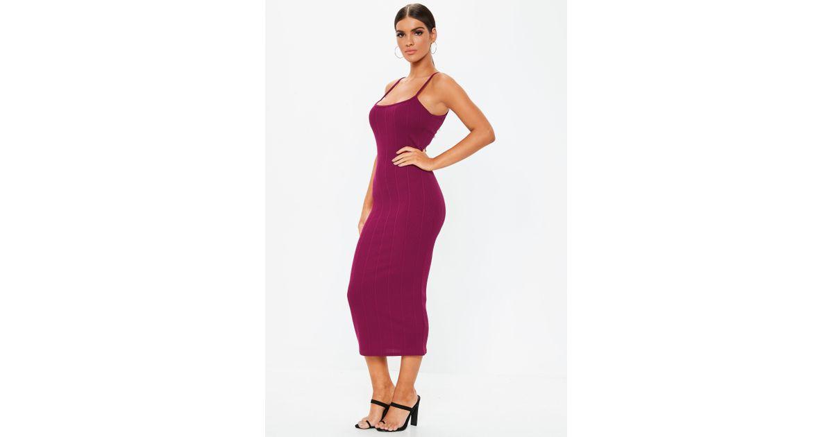 76e7188cbc Lyst - Missguided Purple Scoop Neck Strappy Bandage Midi Dress in Purple