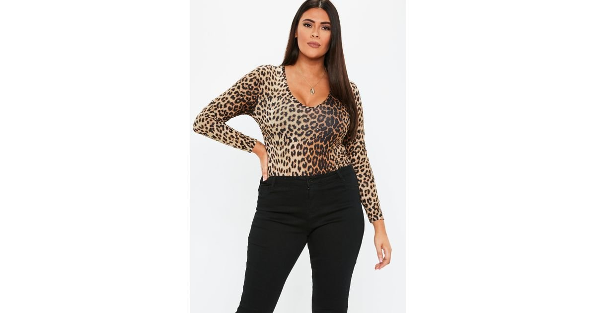 4579087294716 Lyst - Missguided Plus Size Brown Leopard Print V Neck Bodysuit in Brown