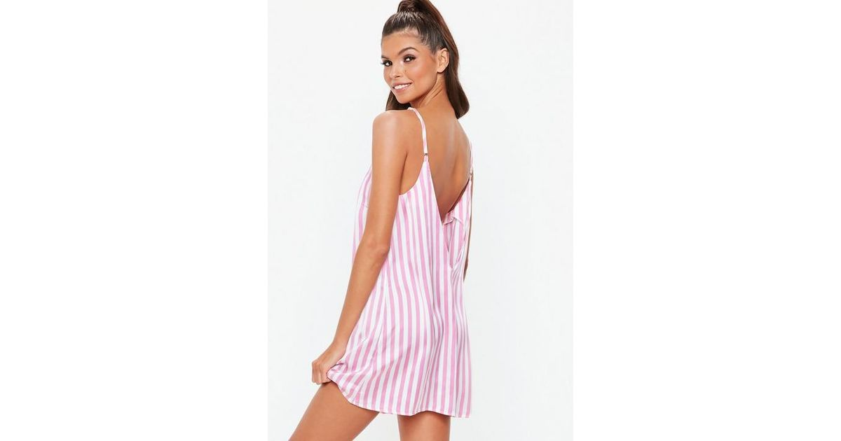 e52ee38f889ca Missguided Pink Candy Stripe V Neck Night Dress in Pink - Lyst